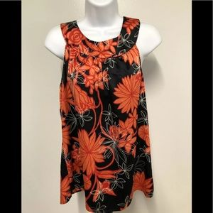 Ann Taylor Black Shiny Floral Sleeveless Top